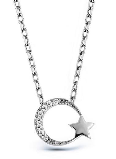 Argentum Concept Argentum Concept N134301 925 Ayar Ay Yıldız Motifli Taşlı Kadın Kolye Gümüş